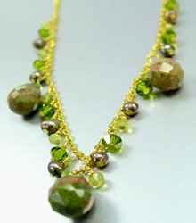 Green Crystals, Stones, & Pearls Necklace 1N2579083