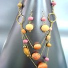 Orange Knit  & Wood Beads Long Necklace Set 1N0806056