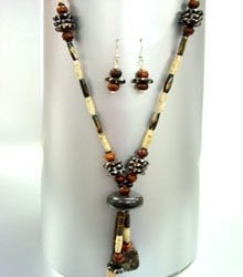 Natural Wood Beads Long Necklace Set 1N1251200