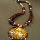Wine Brown Wood Beads Long Necklace 1N0802397