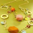Orange Wood & Cord Beads Long Necklace 1N2381709