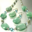 Natural Blue Stones  Swarovski Necklace Set 1N002545
