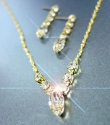 Gold Rhinestone Crystals Necklace Set 1N0010059