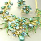 Blue Crystals Gold Floral Necklace Set 1N226147