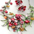 Wine Crystals Floral Necklace Set 1N226147