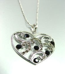 Black Crystals Silver Tone Heart Necklace 1N399122