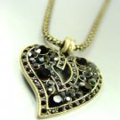 Black Crystals Gold Heart Mesh Necklace 1N4001994