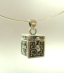 Sterling Silver Etched Prayer Box Necklace 1n0090425