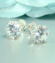 Sterling Silver CZ Crystal STUD Earrings 8mm