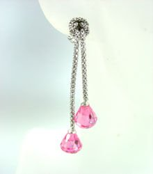 Sterling Silver Pink CZ Crystals Earrings E009211