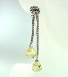 Sterling Silver Yellow CZ Crystal Earrings 1E009211