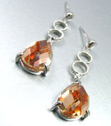 Brown Crystals Sterling Silver Earrings 11E4007079