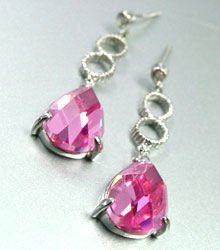 Pink Crystals Sterling Silver Earrings 1E4007079