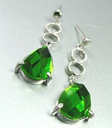 Green Crystals Sterling Silver Earrings  1E4007079