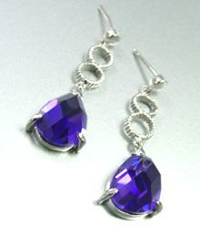 Purple Crystals Sterling Silver Earrings 1E4007079
