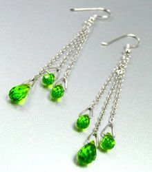 Green Crystals Sterling Silver Earrings 1E4007063