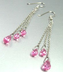 Pink Crystals Sterling Silver Earrings 1E4007063