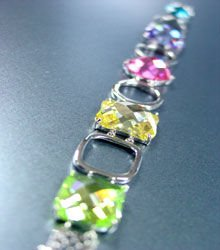 Multi CZ Crystals Sterling Silver Bracelet 1B400720