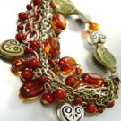 Brown Beads Hearts Stretch Bracelet 1B1255410