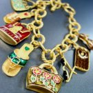 Mat Gold Colorful Charms Bracelet 1B2384057