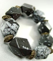 Natural Grey Black Stones Bracelet 1B0385232