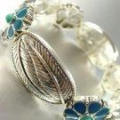 Turquoise Enamel Silver Stretch Bracelet 1B0385799