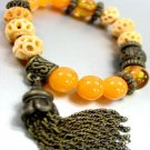Natural Carved Beads Tassel Bracelet 1B067123E
