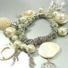 Silver Pearls Shells Beads Bracelet 1B0679374
