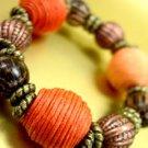 Orange Cord Beads Stretch Bracelet 1B1083662