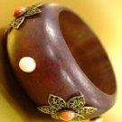 Natural Wood Creme Marble Studs Bangle 1B2576623