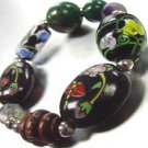 Black Colorful Ceramic Glass Bracelet 1B35603
