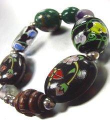 Black Colorful Ceramic Glass Bracelet 1B35603