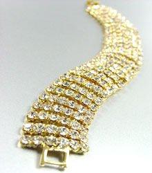 Gold Rhinestones 6 Lines Bracelet 1B1159203