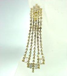 Gold Rhinestone Crystals Dangle Earrings Clip On 1E4004280