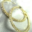 Gold Crystals 1 3/4 Inch Hoop Earrings 1E400434