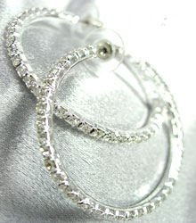 Silver Crystals 1 3/4 Inch Hoop Earrings 1E400434