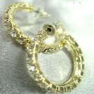 Gold Crystals 1 Inch Hoop Earrings 1E400439