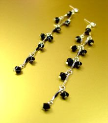 Black Lucite Crystals Silver Earrings 1E00111