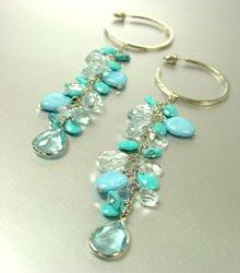 Turquoise Lucite Beads Hoop Earrings 1E1333407