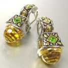 Citrine CZ Crystals Silver Gold Earrings 1E1015194