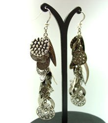 Antique Silver Dangle Charms Earrings 1E1252502