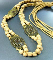 Beige Wood Beads Antique Wrap Belt 1BELT0011517