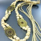 Creme Wood Beads Antique Wrap Belt 1BELT0011517