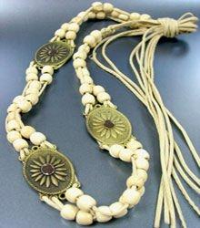 Creme Wood Beads Antique Wrap Belt 1BELT0011517