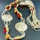 1BELT0012109  Natural Shells Wood Beads Wrap Belt