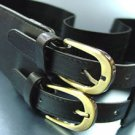 Black Double Buckle Elastic Wrap Belt  1BTB1340626
