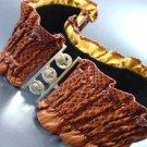 Brown Snake Skin Ruffles Stretch Belt  1BTB1340703
