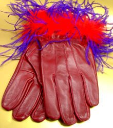 Purple Feathers Red Leather Glove  1GLOVE2886
