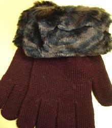 Brown Animal Print Acrylic Fur Glove  1GLOVE2699A