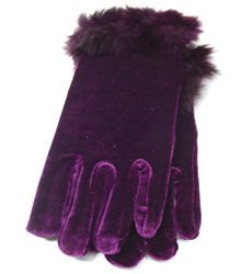 Purple Velvet Rabbit Fur Glove  1GLOVE2974